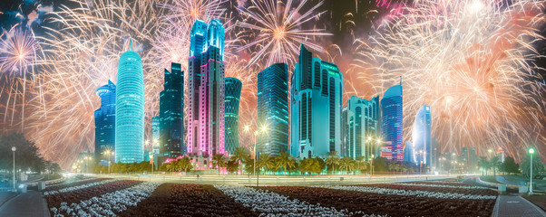 Beautiful fireworks above West Bay and Doha City, Qatar
