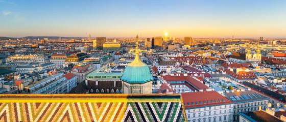 Cityscape of Vienna at Sunset, Austria