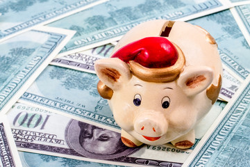 Piggy with santa hat on dollar bills background. Concept of piggy as symbol of upcoming new year.
