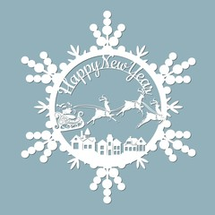 New Year Christmas Deer Snowflake Template For Laser Cutting