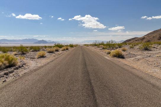 Zzyzx Road along Soda Dry Lake in Mojave National Preserve San Bernardino County, California