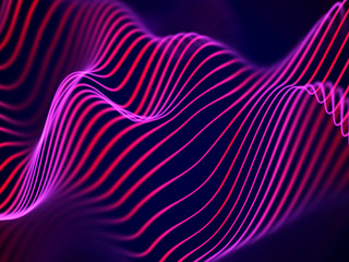 3D visualization of sound waves. Big data or information concept: Red chart. Data abstract: futuristic digital landscape. Visual sound waves or audio equalizer. EPS 10 vector illustration.