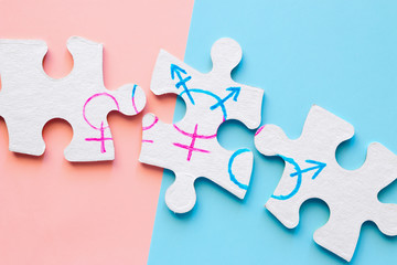 divided puzzle pieces with gender symbols. concept of gender equality