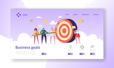 Business Goal Achievement Landing Page. Website Layout with Flat People Characters Aiming Target. Success Concept for Website or Web Page. Flat Cartoon Vector Illustration Wall mural