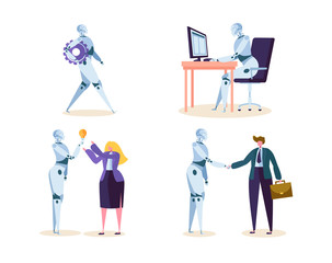 Robot Work in Office with People. Machine Ai Character Help Businessman in Future Job. Cyborg and Man make Agreement with Handshake. Flat Cartoon Vector Illustration