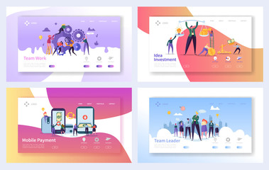 Business Teamwork Landing Page Template Set. Mobile Payment Concept. Ledaership Character Design. Partnership Networking Cooperation for Website or Web Page. Flat Cartoon Vector Illustration