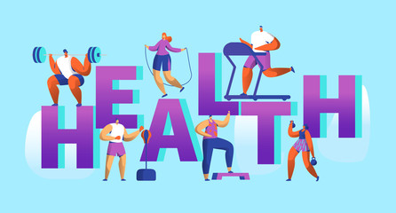 Healthy Lifestyle Sport Banner. Cardio Gym Training Characters Workout Concept for Poster Print. Man and Woman with Dumbbell. Flat Cartoon Vector Illustration