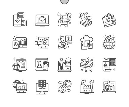 Digital Economy Well-crafted Pixel Perfect Vector Thin Line Icons 30 2x Grid for Web Graphics and Apps. Simple Minimal Pictogram