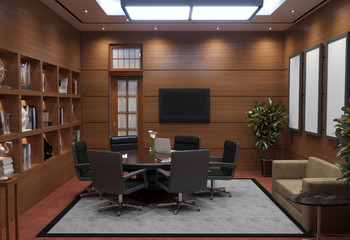conference room, meeting room, interior visualization, 3D illustration