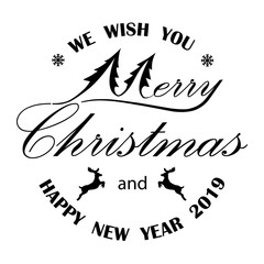 merry christmas and new year,Merry Christmas hand lettering isolated on white. Vector image.