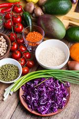 Healthy plant based vegan food, ingredients close up