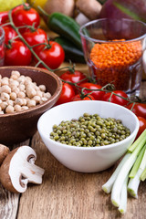 Mung bean. Variety of fresh  vegetables and dry grains and beans