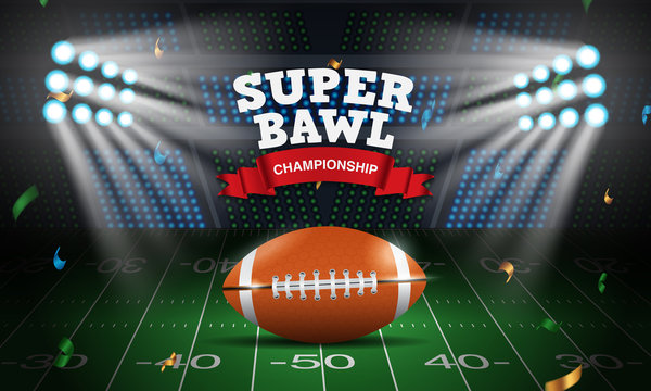 Background American football arena field with bright stadium lights design, rugby sport, super bowl, vector illustration