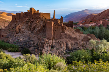 Morocco, Kasbah in the Dades Valley also known as Valley of the Roses. Dades River.