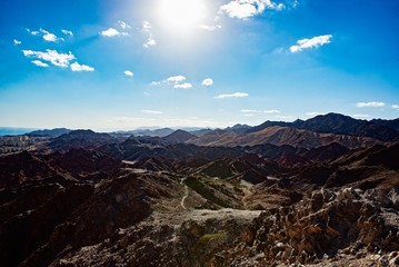 Beauty view on Eilat and Red Sea from mountain.