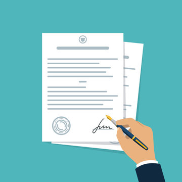 Contract-document signing. Hand signing contract simple style. Vector