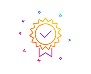 Certificate line icon. Verified award sign. Accepted or confirmed symbol. Gradient line button. Certificate icon design. Colorful geometric shapes. Vector