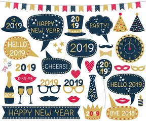 New Year 2019 photo booth props and decoration set