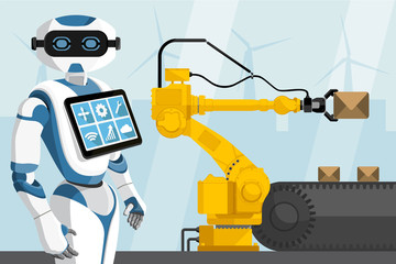 Robot with a digital tablet controls the handling robot. Smart factory. Vector illustration