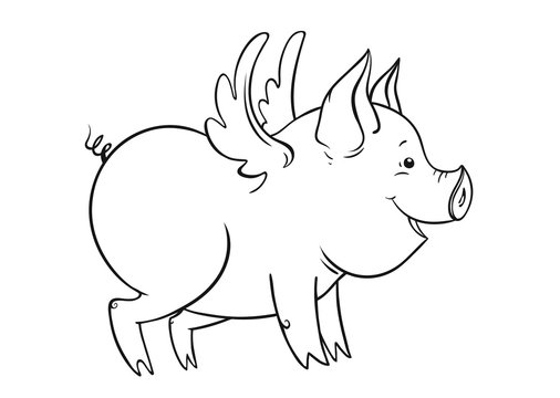 Cute winged piglet, outline vector illustration
