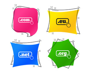 Top-level internet domain icons. Com, Eu, Net and Org symbols with hand pointer. Unique DNS names. Geometric colorful tags. Banners with flat icons. Trendy design. Vector