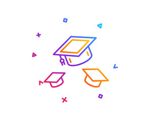 Graduation caps line icon. Education sign. Student hat symbol. Gradient line button. Throw hats icon design. Colorful geometric shapes. Vector