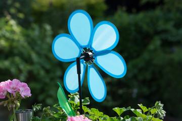Blue wind turbine