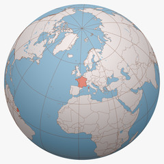 France on the globe. Earth hemisphere centered at the location of the French Republic. France map.