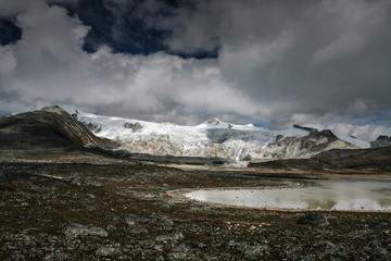Dramatic landscape near Rinchen Zoe La (5,300m) pass at Snowman Trek, Bhutan
