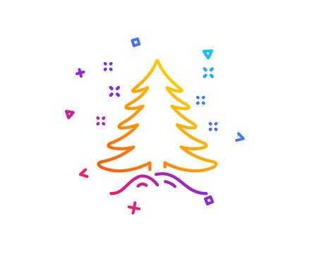 Christmas tree present line icon