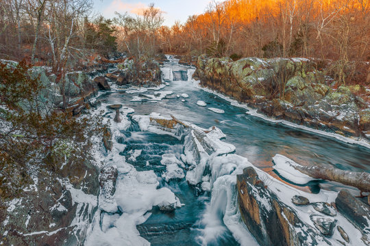 Great Falls of the Potomac River in winter.Maryland.USA
