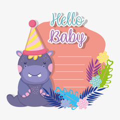 hippopotamus with party hat to baby shower invitation