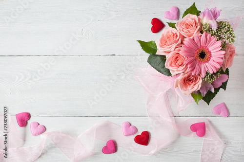 Background With A Bouquet Of Pink Roses And Gerbera Ribbon And