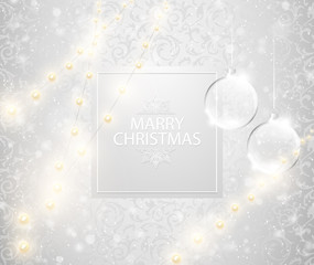 Christmas light shining snowfall background. Merry Christmas text on square label, transparent glass ball. Bright festive vector Illustration. Christmas tree toys and lights.