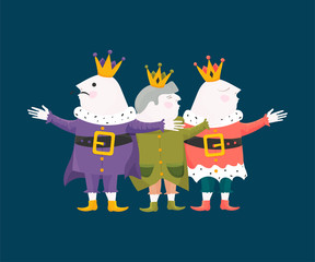 Vector Illustration for Three Kings Day, also known as Little Christmas or Epiphany. Cartoon styled Epiphany Day Three Kings embracing each other.