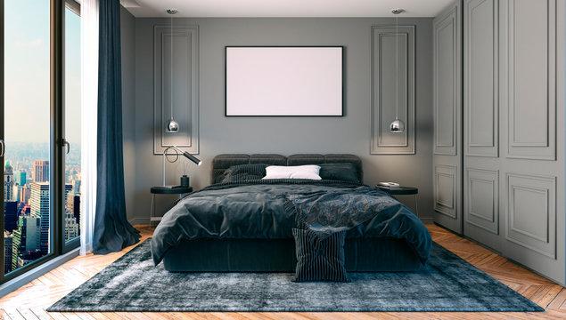 3d render of beautiful bedroom interior