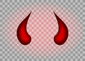 Realistic red devil horns set. Isolated on transparent background. Vector illustration, eps 10.