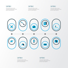 Journey icons colored set with flask, airplane ticket, sea and other hygiene