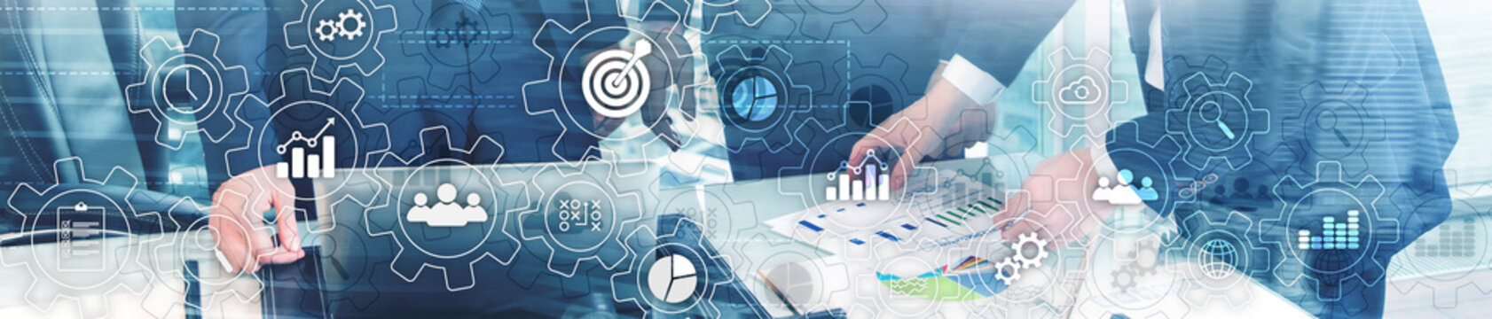 Business process abstract diagram with gears and icons. Workflow and automation technology concept. Website header banner.