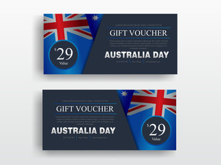 Happy Australia Day banner set. greeting card template