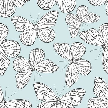 Butterflies Hand drawing. Vector seamless pattern