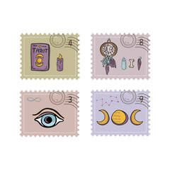 Esoteric Magic Postage Stamps. Hand Drawn Vector Illustration Icon Set. Sacred Symbol Postal Stationery. Tarot, Crystal, Magic Eye, Dreamcatcher for Boho New Age Meditation Journal, Solstice Mail Art.