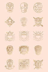Geometric Skull Logos. Skull Tattoos in Vector. Skull and Bones Icons