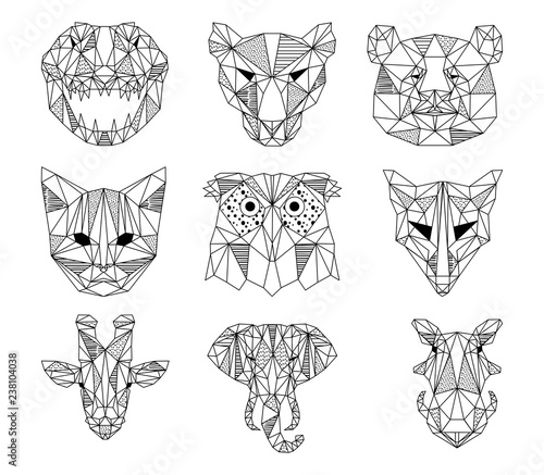 A Set Of Geometric Animal Head Logos In Vector Polygon