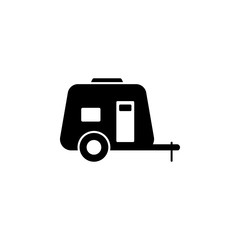 Car house on wheels solid icon. Truck moving house vector illustration isolated on white. Camper glyph style design, designed for web and app. Eps 10