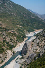 Albania: the river Drin leads through steep valleys of the beautiful and pittoresque Albanian alps
