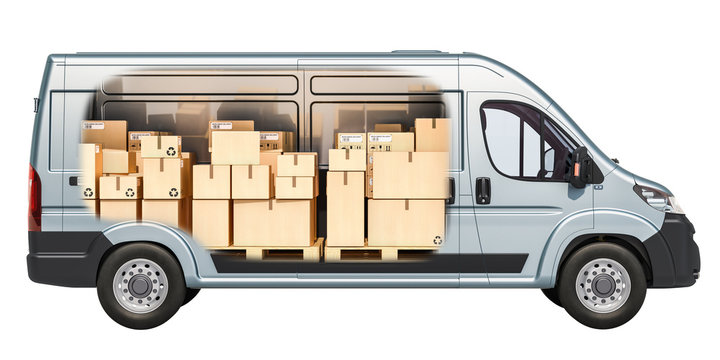 Commercial delivery van with parcels, cardboard boxes inside. Freight transportation, delivery concept. 3D rendering