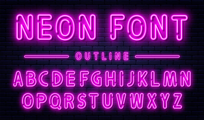 Neon alphabet with numbers. Purple neon font, fluorescent lamps on brick wall background, outline style font