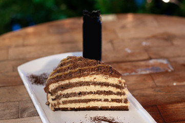 Mars chocolate cake on white plate