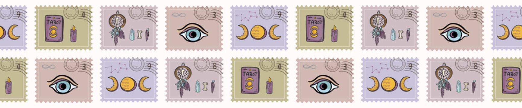 Esoteric Magic Postage Stamps. Hand Drawn Seamless Vector Border. Spiritual Symbols Postal Stationery. Tarot, Crystal, Dreamcatcher. Meditation Journal Mail Art Banner Ribbon, Boho New Age Planners